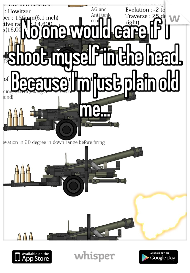 No one would care if I shoot myself in the head.  Because I'm just plain old me...