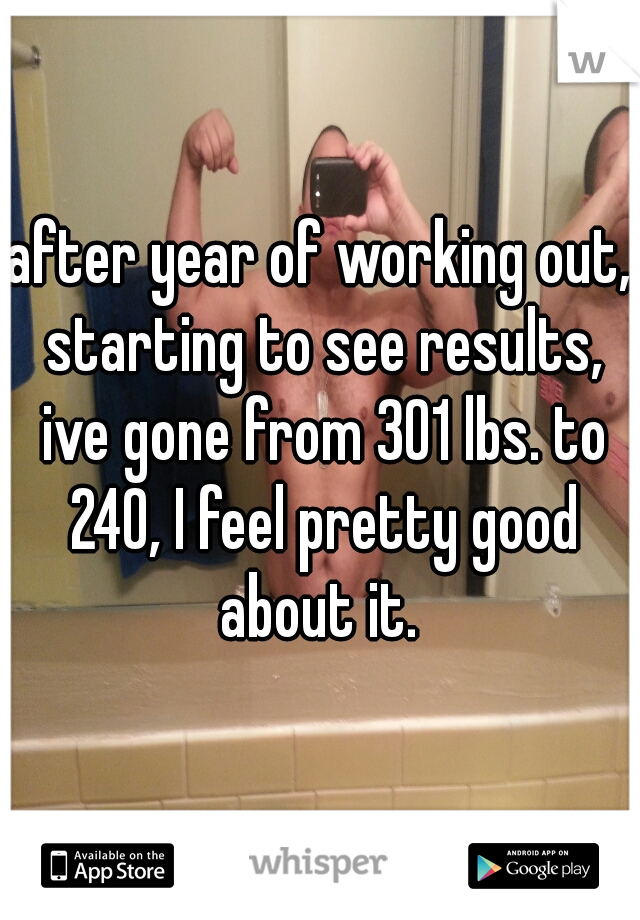 after year of working out, starting to see results, ive gone from 301 lbs. to 240, I feel pretty good about it.