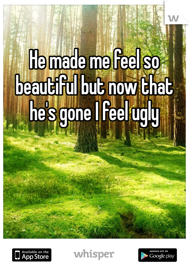 He made me feel so beautiful but now that he's gone I feel ugly