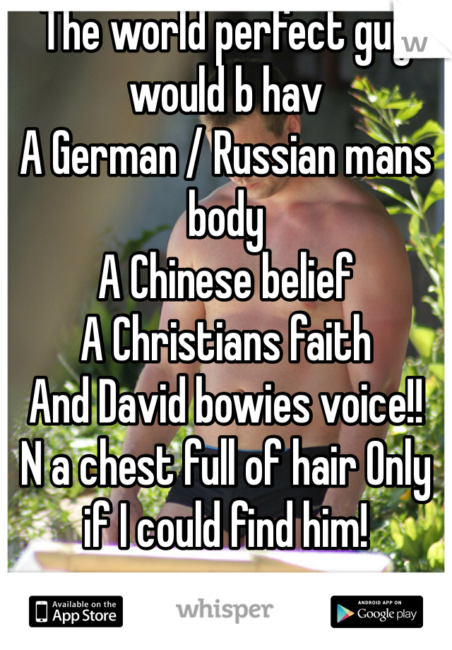 The world perfect guy would b hav  A German / Russian mans body  A Chinese belief  A Christians faith  And David bowies voice!! N a chest full of hair Only if I could find him!
