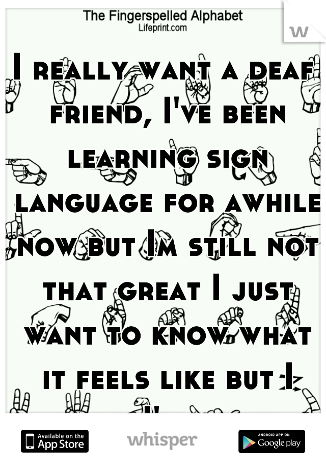 I really want a deaf friend, I've been learning sign language for awhile now but Im still not that great I just want to know what it feels like but I know I'll never understand.