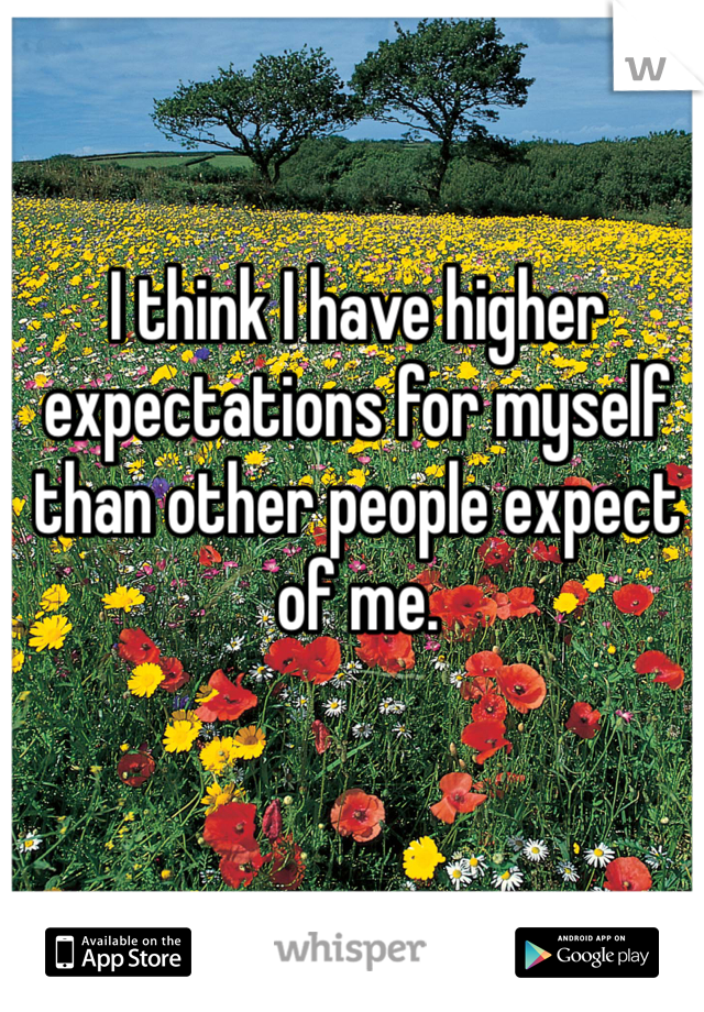 I think I have higher expectations for myself than other people expect of me.