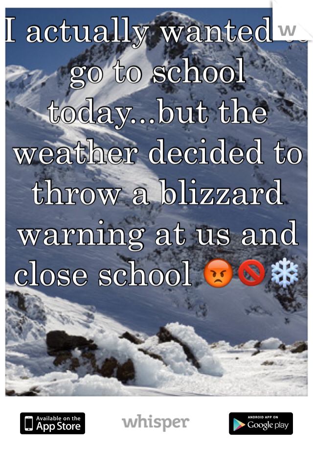 I actually wanted to go to school today...but the weather decided to throw a blizzard warning at us and close school 😡🚫❄️