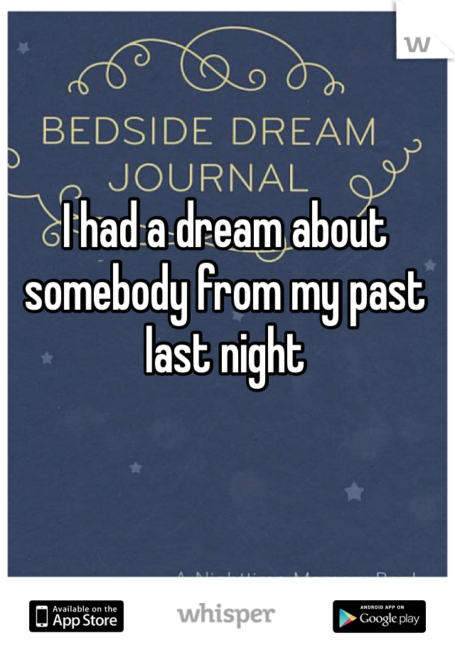 I had a dream about somebody from my past last night
