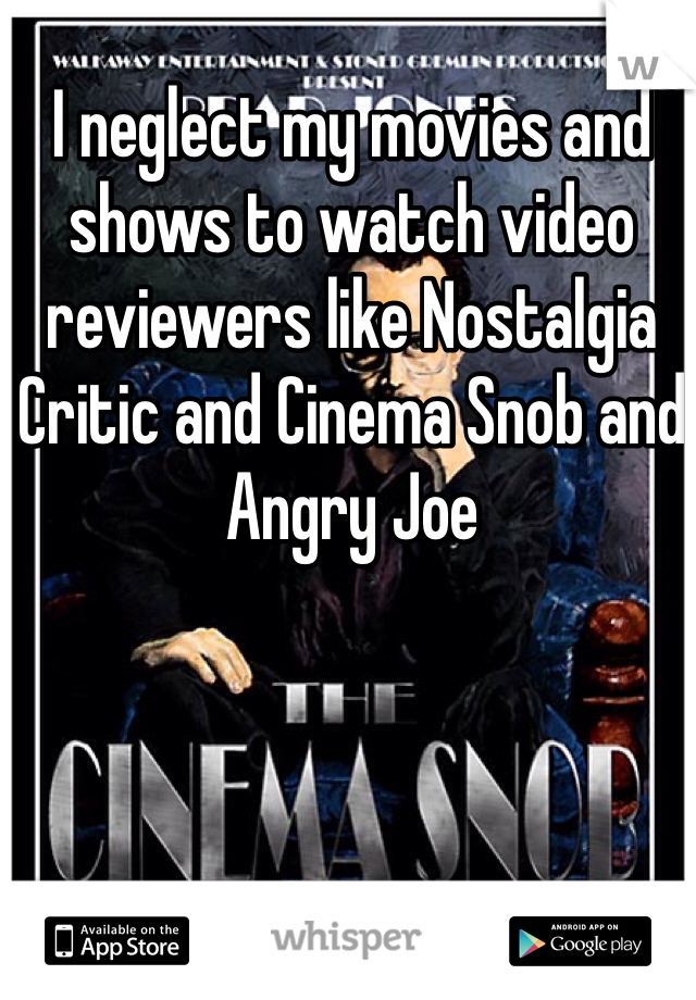 I neglect my movies and shows to watch video reviewers like Nostalgia Critic and Cinema Snob and Angry Joe