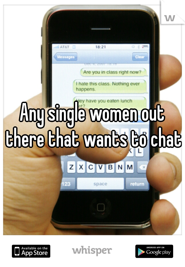 Any single women out there that wants to chat?