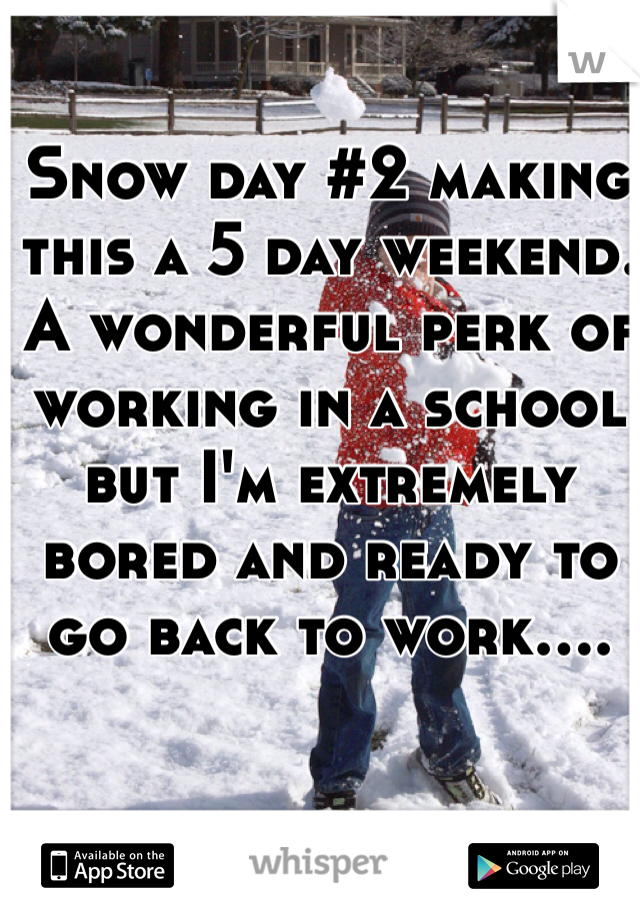Snow day #2 making this a 5 day weekend. A wonderful perk of working in a school but I'm extremely bored and ready to go back to work....