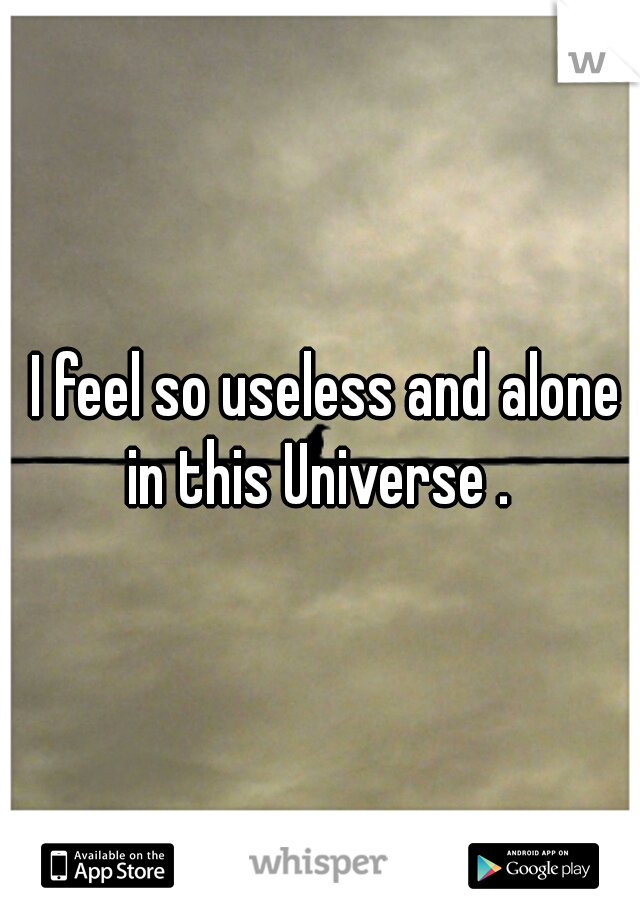 I feel so useless and alone in this Universe .