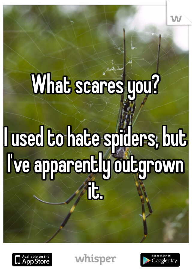 What scares you?  I used to hate spiders, but I've apparently outgrown it.