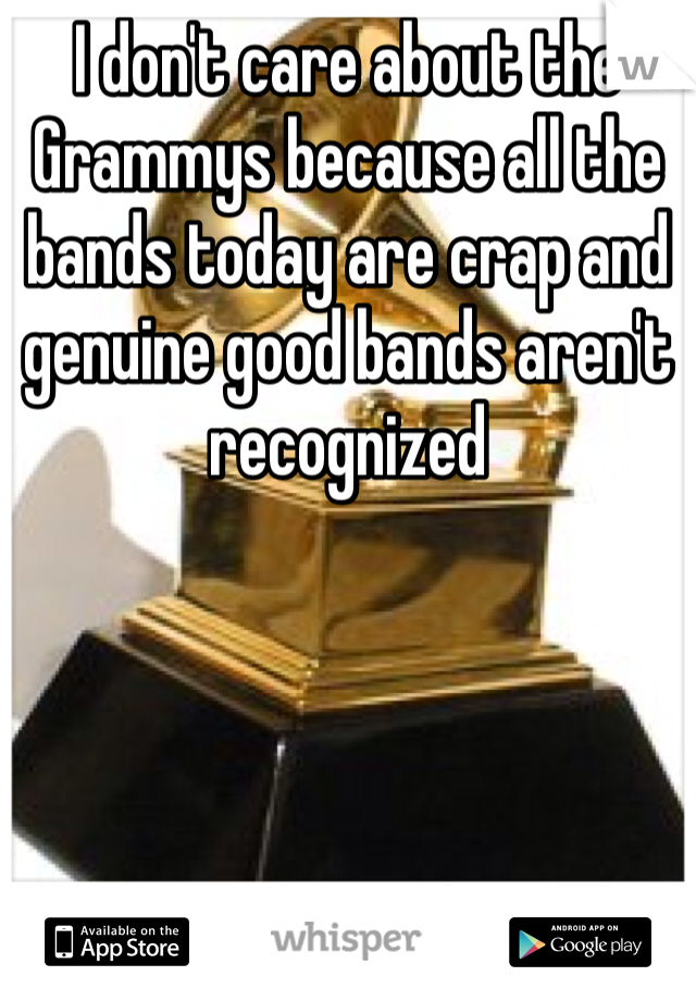 I don't care about the Grammys because all the bands today are crap and genuine good bands aren't recognized