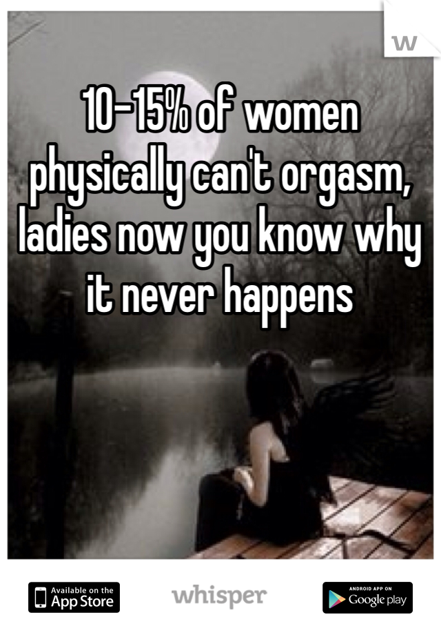 10-15% of women physically can't orgasm, ladies now you know why it never happens