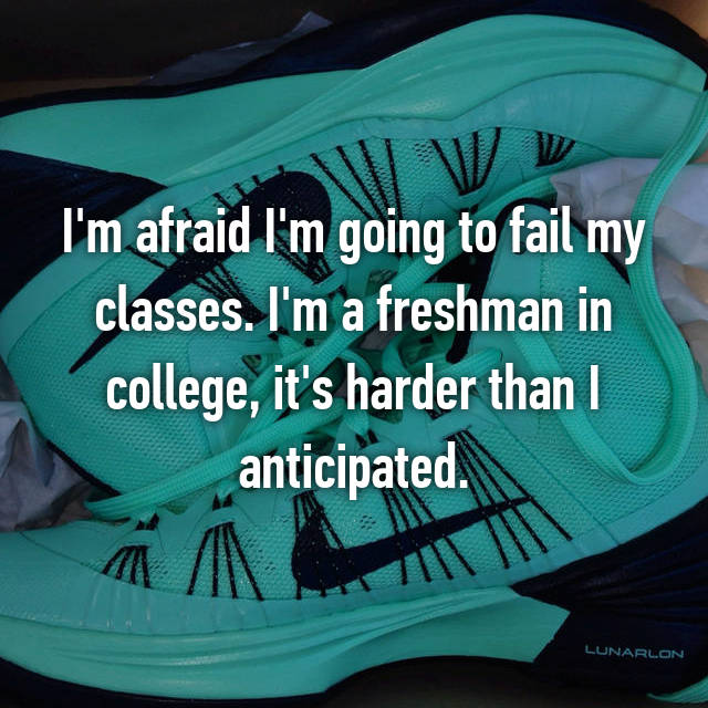 I'm afraid I'm going to fail my classes. I'm a freshman in college, it's harder than I anticipated.