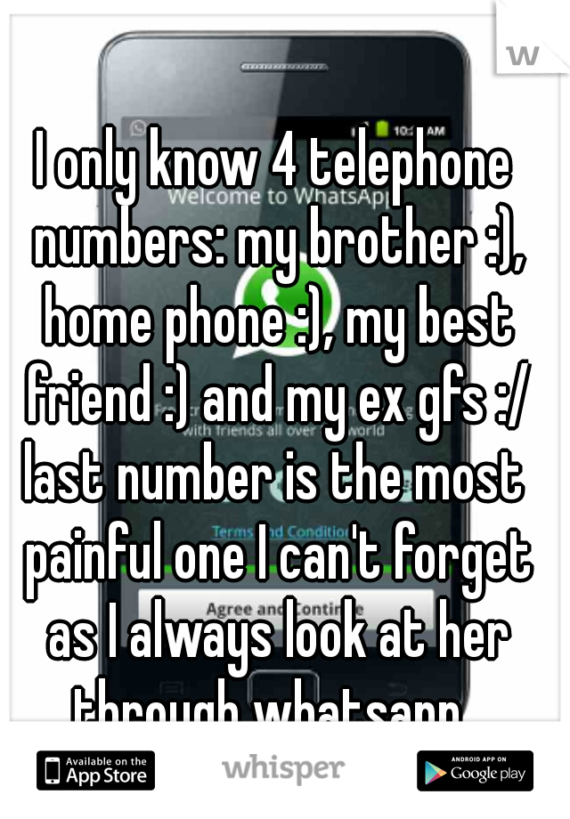 I only know 4 telephone numbers: my brother :), home phone :), my best friend :) and my ex gfs :/ last number is the most painful one I can't forget as I always look at her through whatsapp