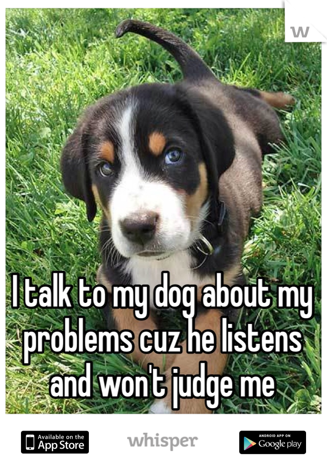 I talk to my dog about my problems cuz he listens and won't judge me