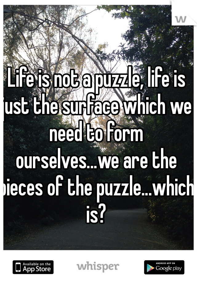 Life is not a puzzle, life is just the surface which we need to form ourselves...we are the pieces of the puzzle...which is?