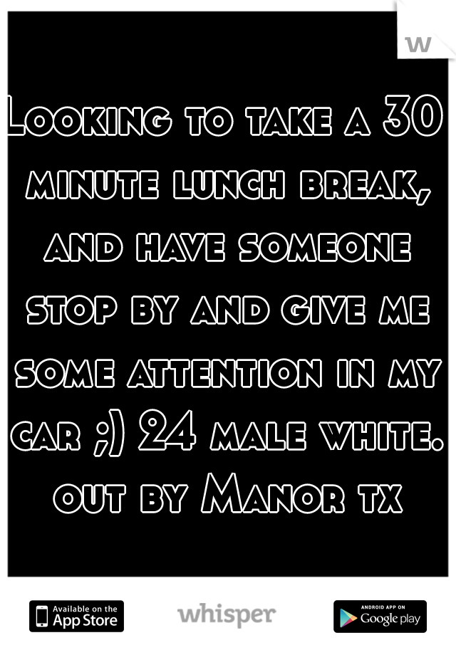 Looking to take a 30 minute lunch break, and have someone stop by and give me some attention in my car ;) 24 male white. out by Manor tx