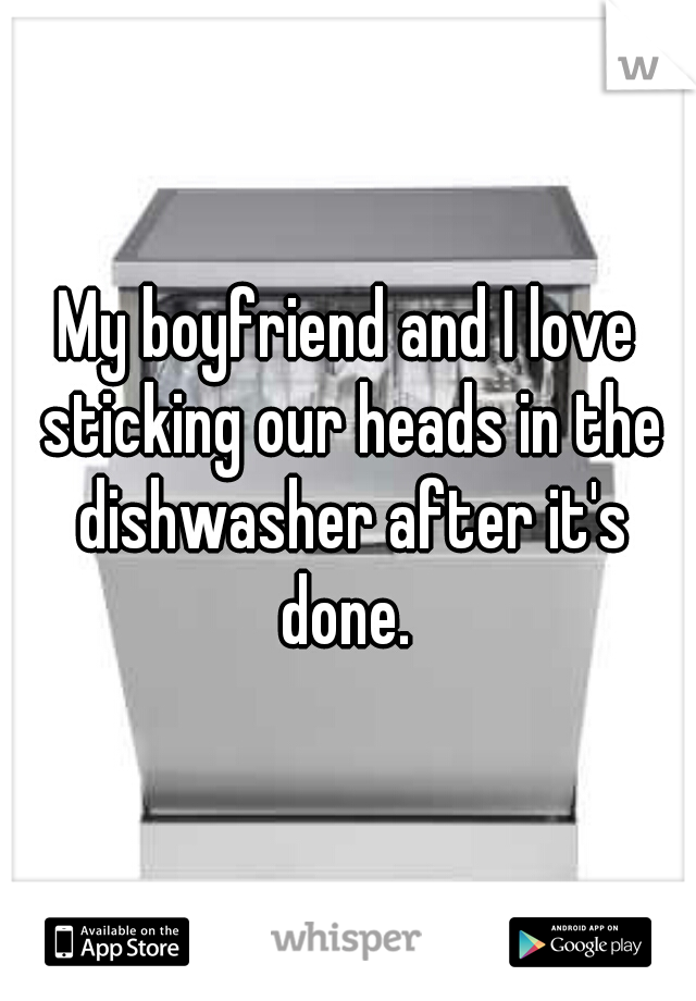 My boyfriend and I love sticking our heads in the dishwasher after it's done.