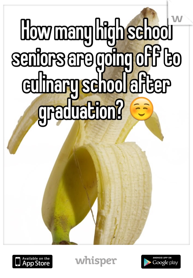 How many high school seniors are going off to culinary school after graduation? ☺️