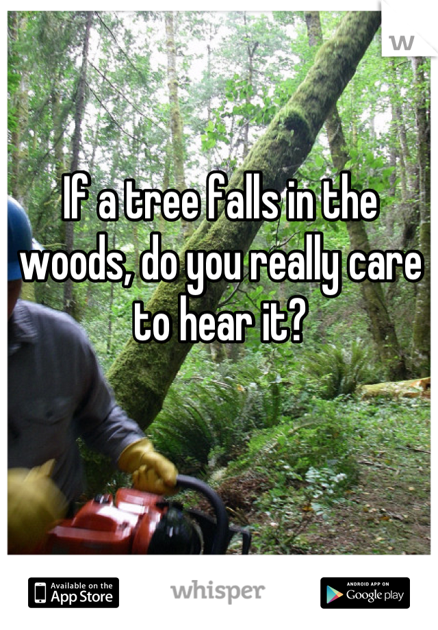 If a tree falls in the woods, do you really care to hear it?