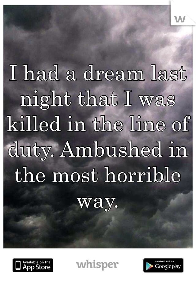 I had a dream last night that I was killed in the line of duty. Ambushed in the most horrible way.