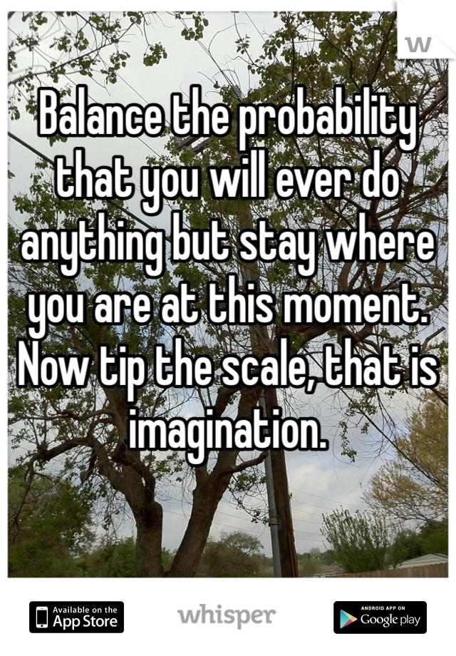 Balance the probability that you will ever do anything but stay where you are at this moment. Now tip the scale, that is imagination.