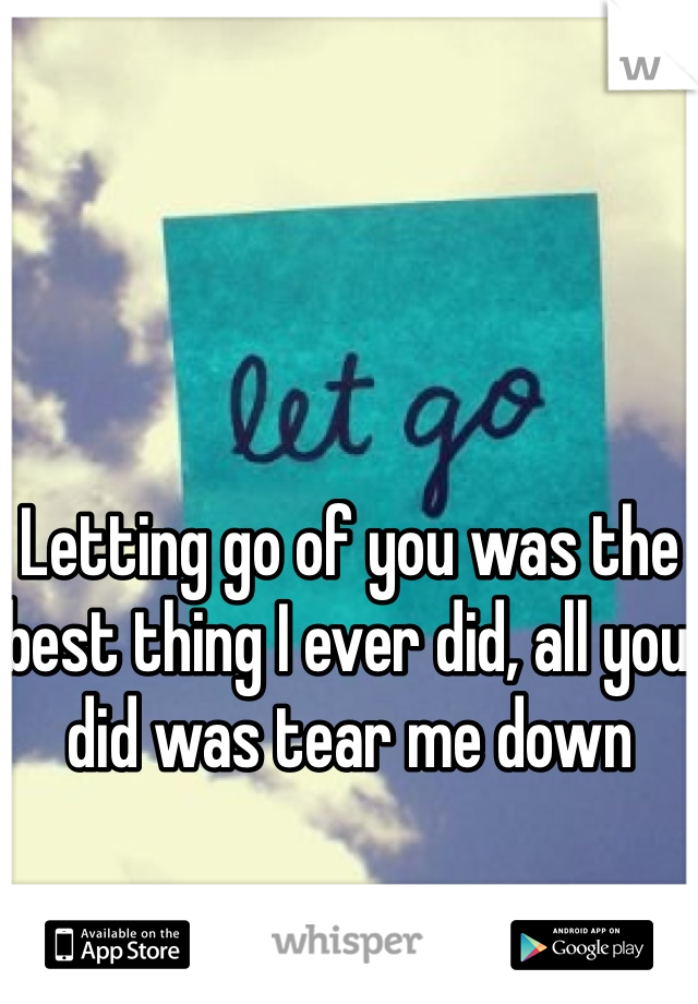 Letting go of you was the best thing I ever did, all you did was tear me down