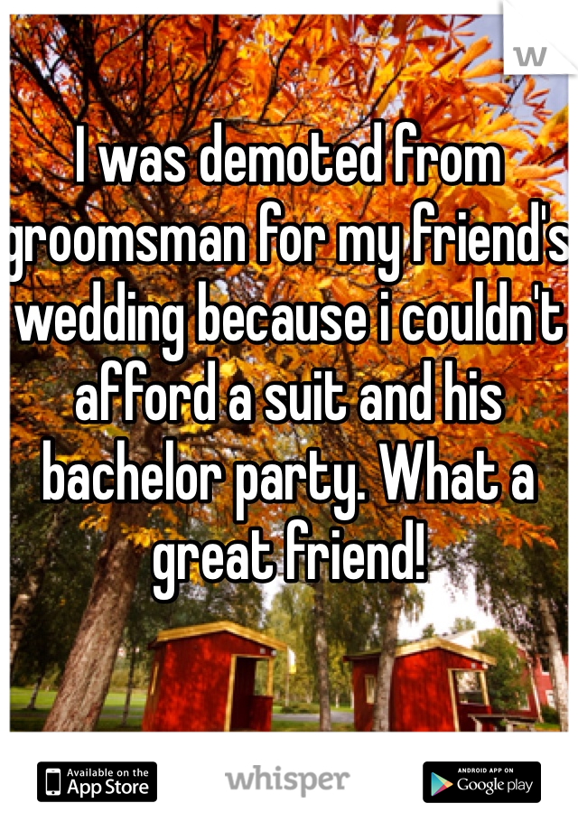 I was demoted from groomsman for my friend's wedding because i couldn't afford a suit and his bachelor party. What a great friend!