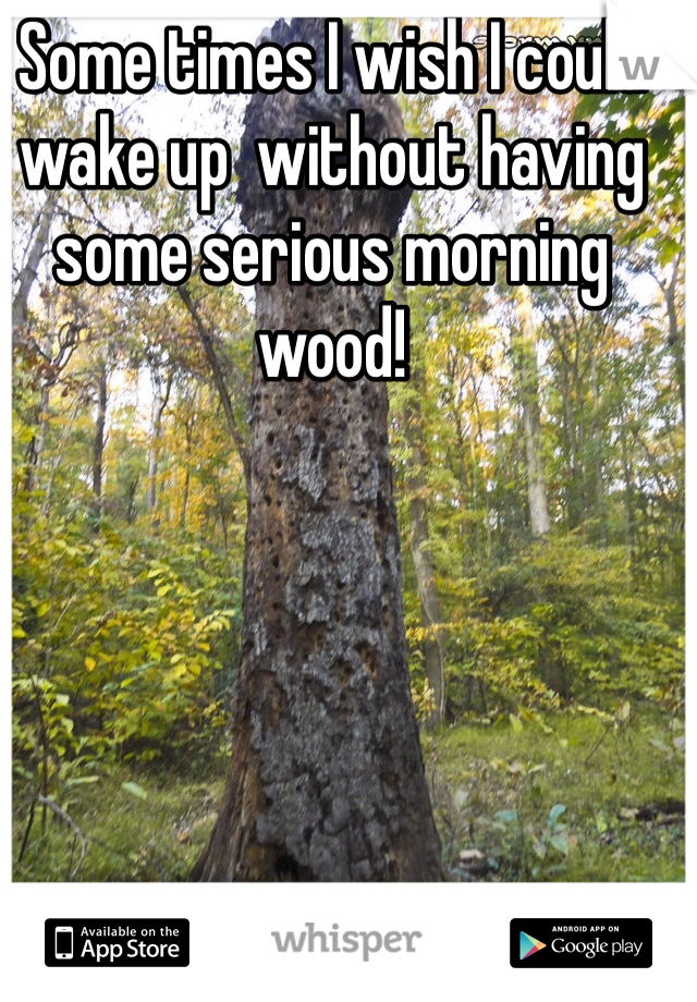 Some times I wish I could wake up  without having some serious morning wood!