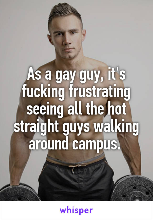 As a gay guy, it's fucking frustrating seeing all the hot straight guys walking around campus.
