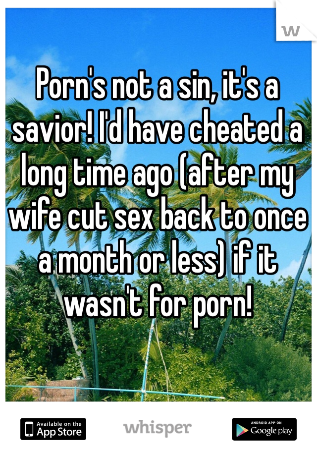 Porn's not a sin, it's a savior! I'd have cheated a long time ago (after