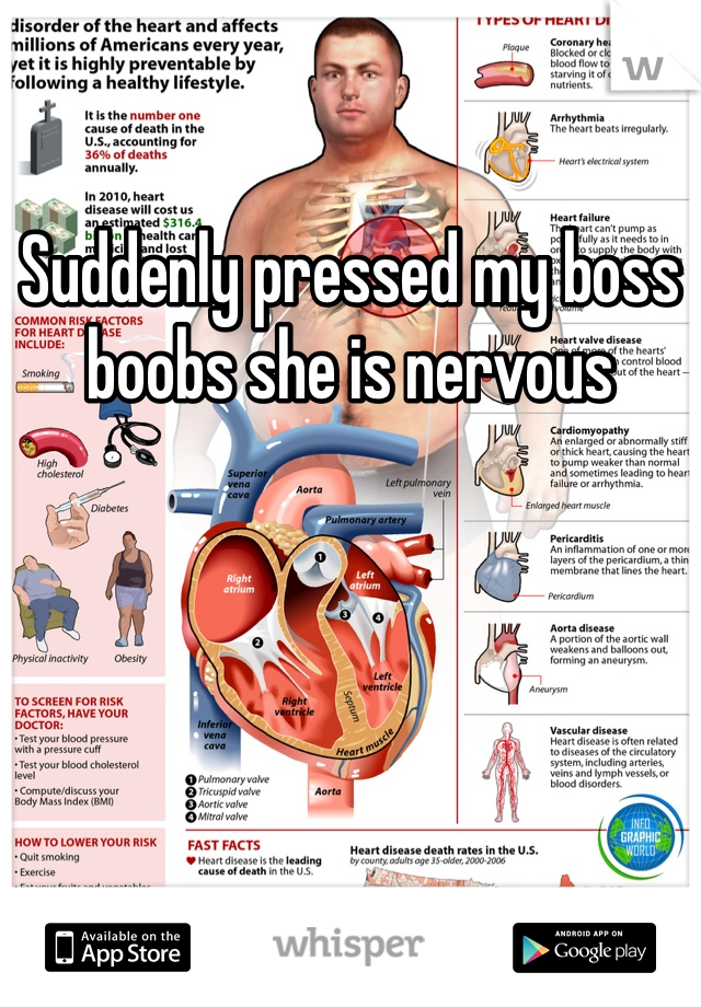 Suddenly pressed my boss boobs she is nervous