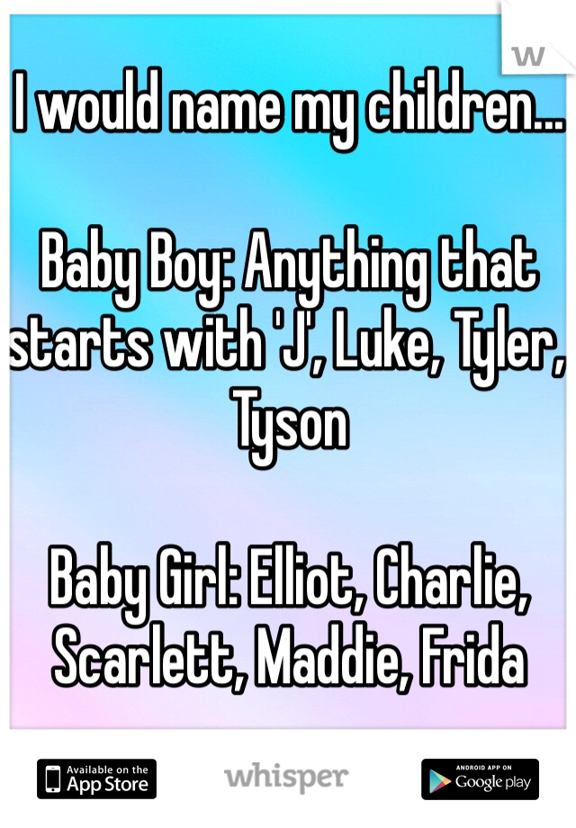 I would name my children    Baby Boy: Anything that starts with 'J