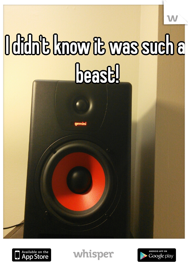 I didn't know it was such a beast!