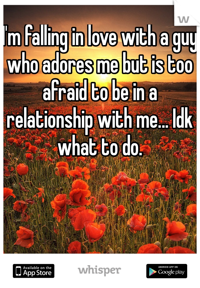 I'm falling in love with a guy who adores me but is too afraid to be in a relationship with me... Idk what to do.