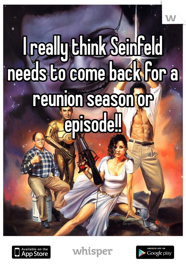I really think Seinfeld needs to come back for a reunion season or episode!!