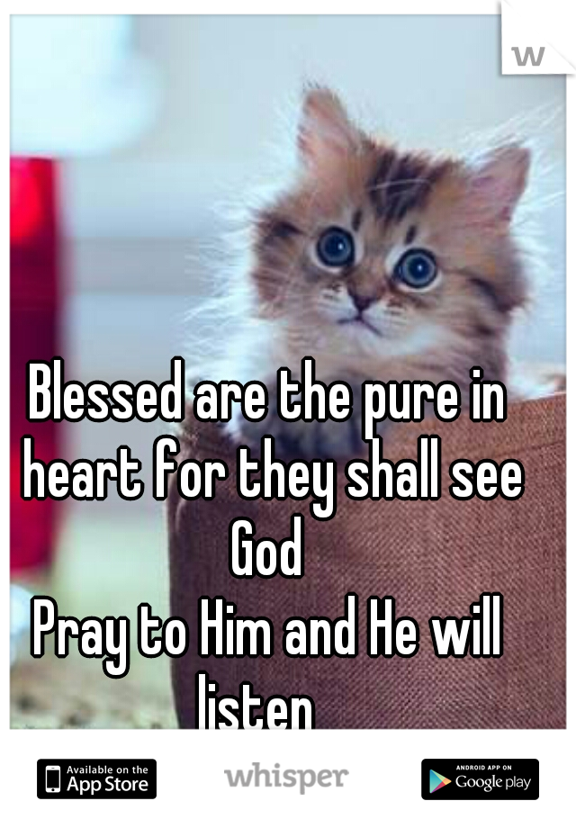 Blessed are the pure in heart for they shall see God  Pray to Him and He will listen