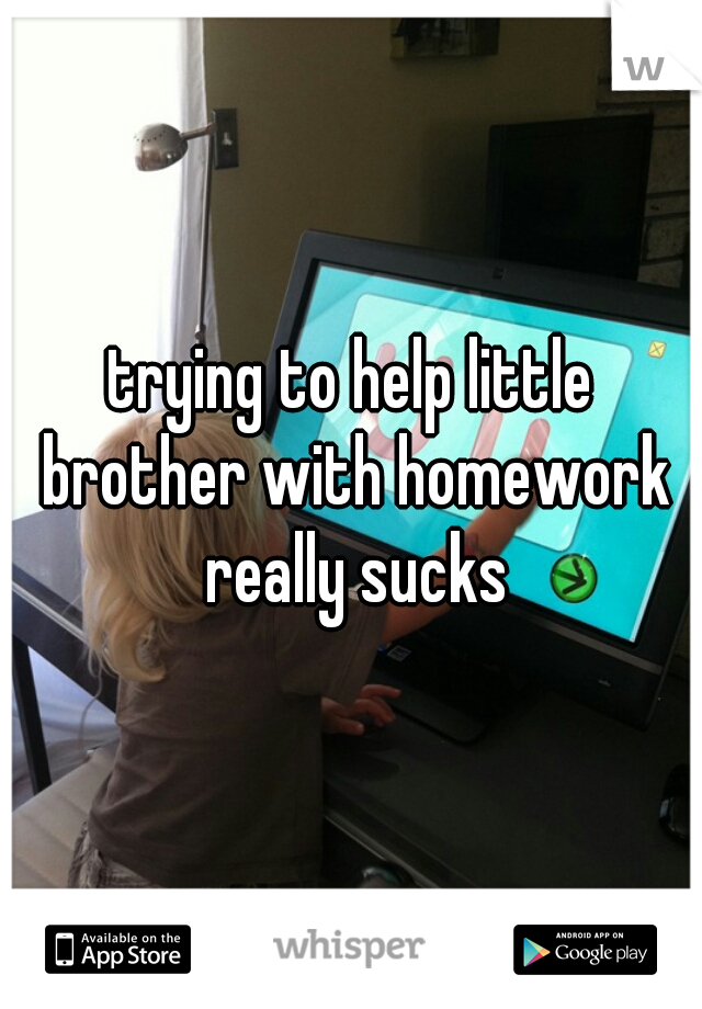 trying to help little brother with homework really sucks