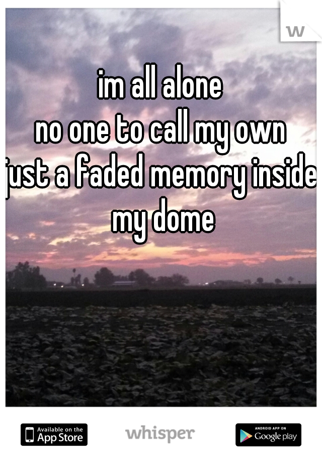im all alone no one to call my own just a faded memory inside my dome