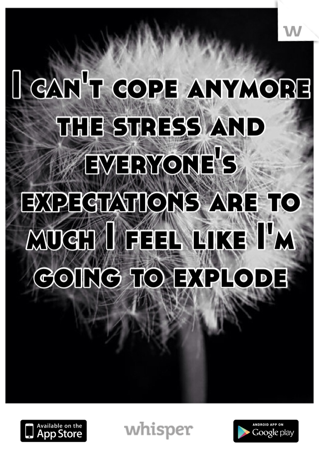 I can't cope anymore the stress and everyone's expectations are to much I feel like I'm going to explode