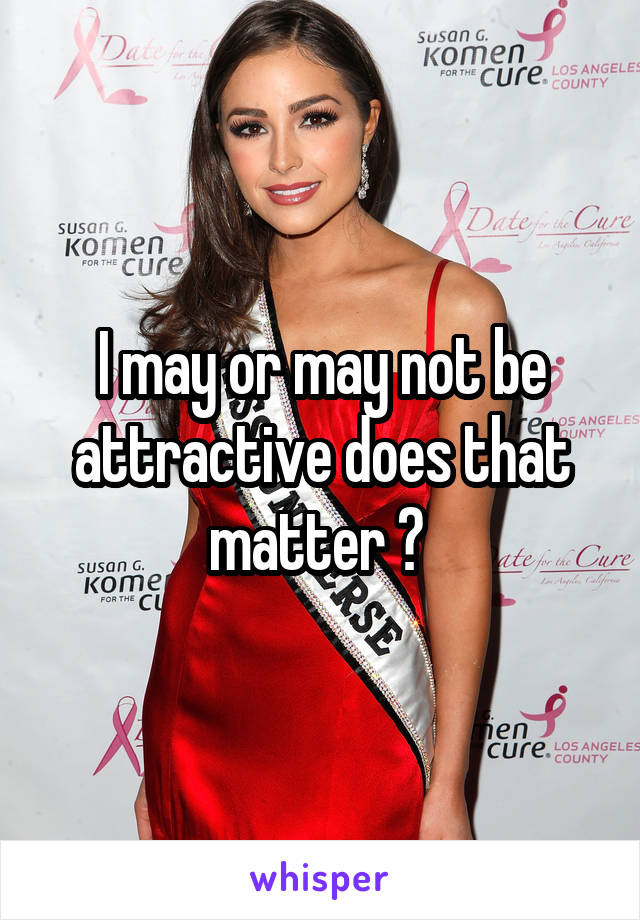 I may or may not be attractive does that matter ?