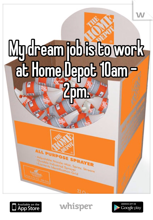 My dream job is to work at Home Depot 10am - 2pm.