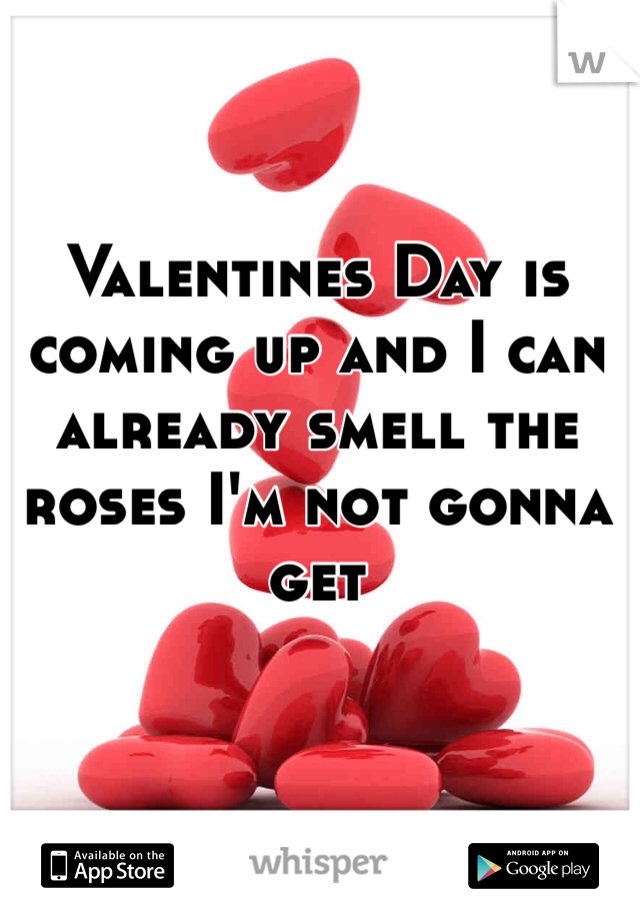 Valentines Day is coming up and I can already smell the roses I'm not gonna get
