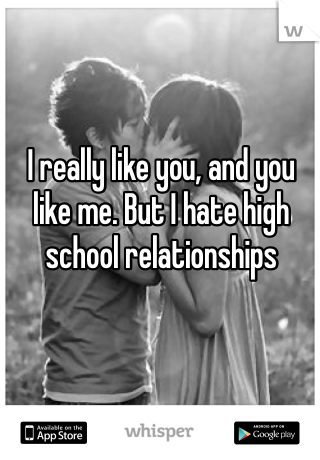 I really like you, and you like me. But I hate high school relationships