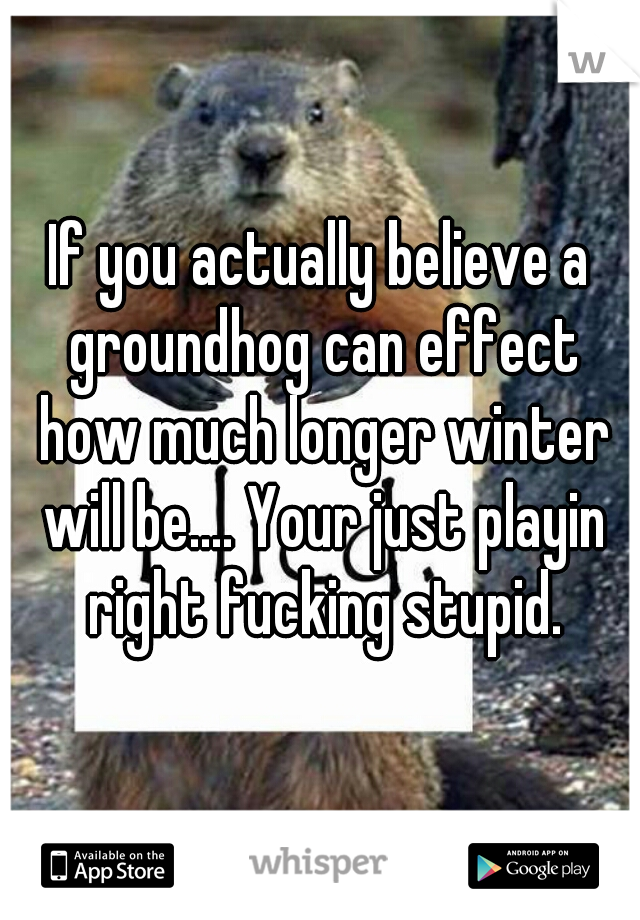 If you actually believe a groundhog can effect how much longer winter will be.... Your just playin right fucking stupid.