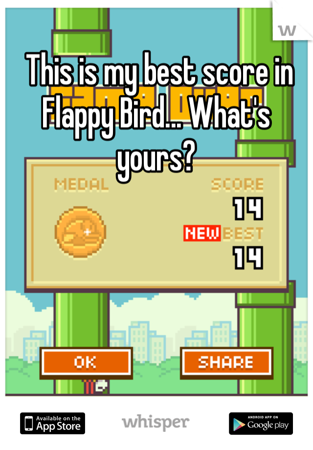 This is my best score in Flappy Bird... What's yours?
