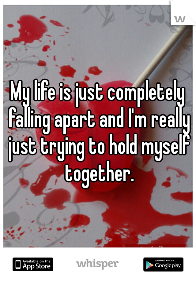 My life is just completely falling apart and I'm really just trying to hold myself together.