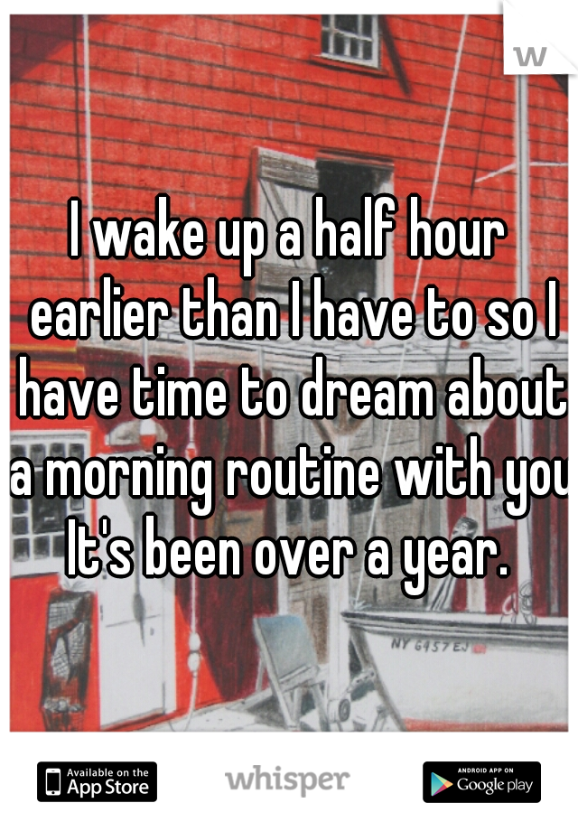 I wake up a half hour earlier than I have to so I have time to dream about a morning routine with you.  It's been over a year.