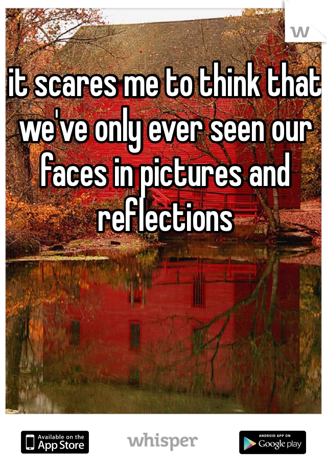 it scares me to think that we've only ever seen our faces in pictures and reflections