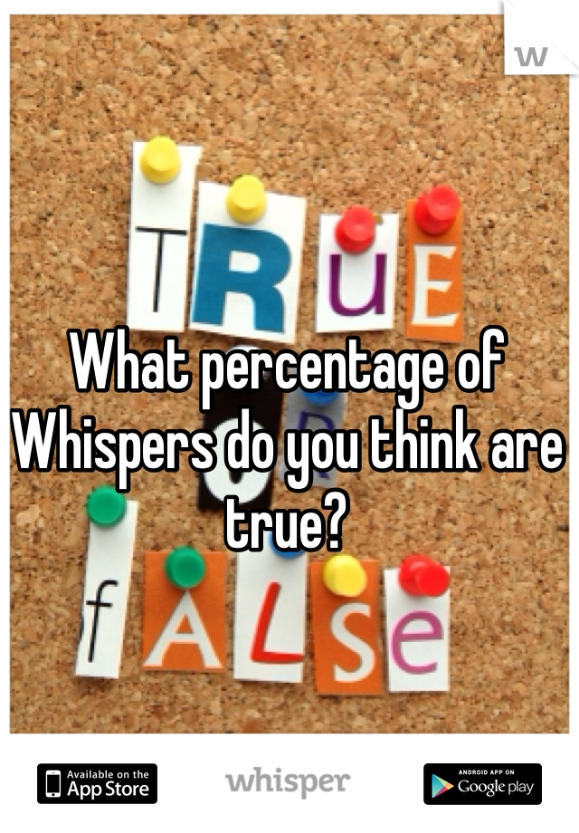What percentage of Whispers do you think are true?