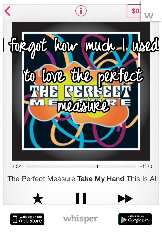 I forgot how much I used to love the perfect measure